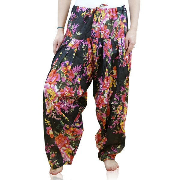 47d240fce5692 Handmade Indian Clothing Full Length Black Floral Patiala and Dancer Pants  with Scarf (India)