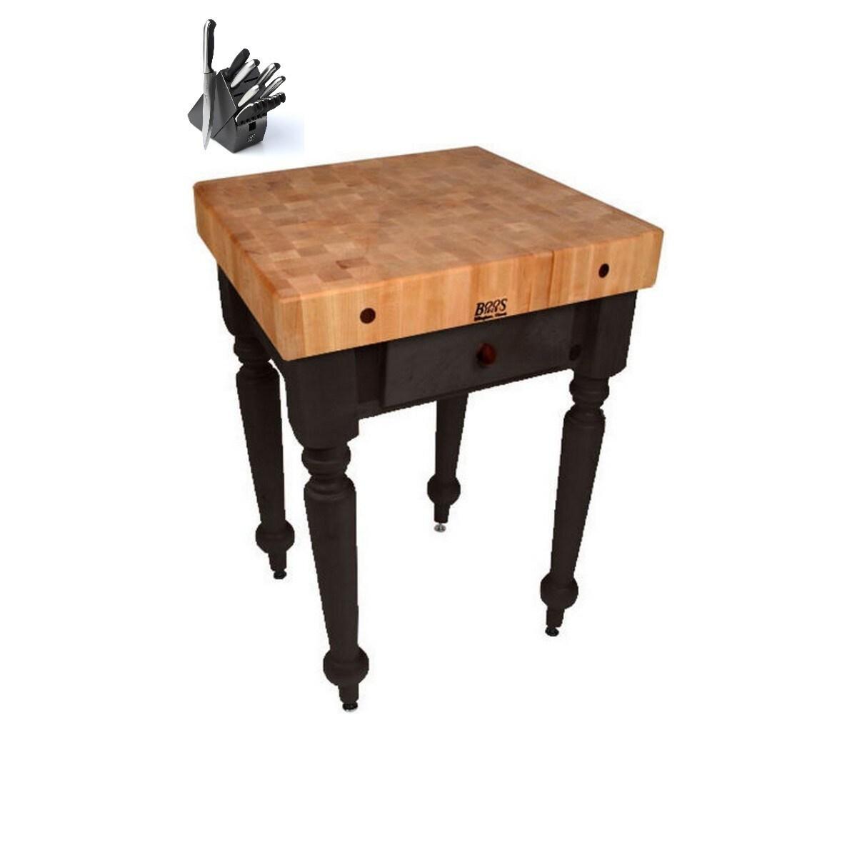 John Boos Cucina Rustica Black 30 x 24 Kitchen Work Table...