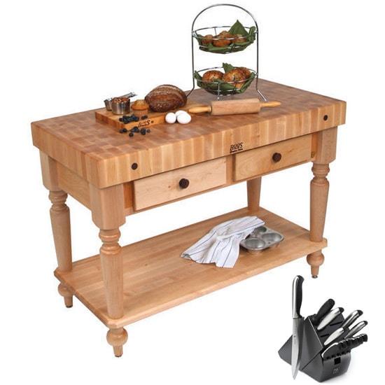 Shop john boos cucina rustica 48 x 24 kitchen work table cucr05 shf henckels 13 piece knife - John boos cucina ...