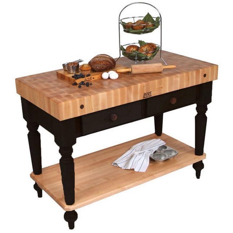 John Boos Cucina Rustica Black 48 x 24 Kitchen Work Table...