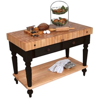 John Boos Cucina Rustica Black 48 x 24 Kitchen Work Table CUCR05-SHF-BK & Henckels 13-piece Knife Block Set