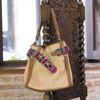 Leather Cotton 'San Pedro Coffee' Hobo Bag (Guatemala)