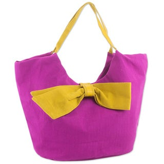 Handmade Leather Cotton 'Chic Yellow Bow' Hobo Bag (Guatemala)