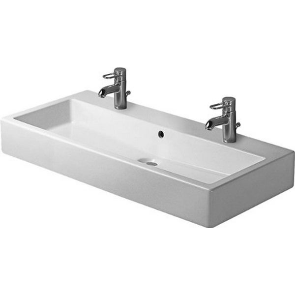 Duravit 39.375-inch Vero White Washbasin with Overflow and 2 Tap Holes
