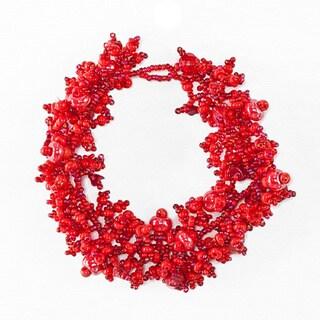 Handmade Berry Blossom Hand-beaded Bracelet (Guatemala)