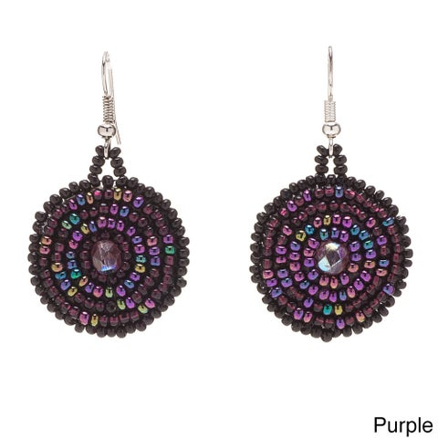 Handmade Beaded Swirl Earrings (Guatemala)