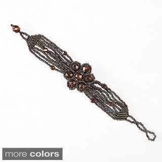 Hand-beaded Flower Power Bracelet (Guatemala)