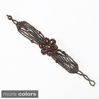 Hand-beaded Flower Power Bracelet (Guatemala)