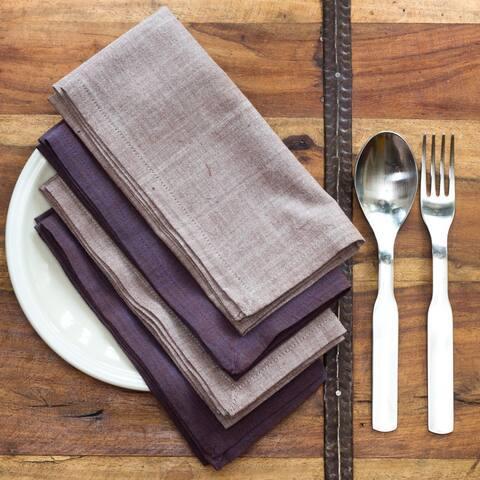 Handmade Marie Light and Dark Purple Cotton Napkins (India)
