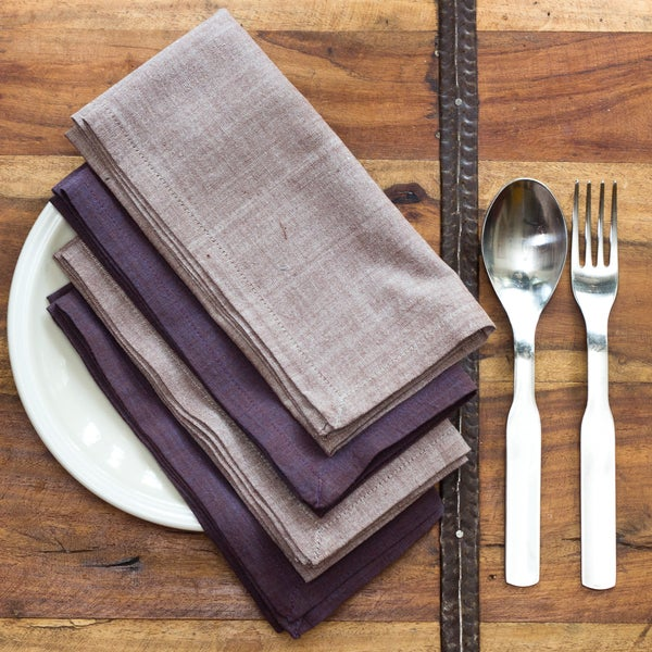 Handmade Marie Light and Dark Purple Cotton Napkins (India)