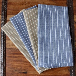Set of 4 Handmade Blue/ Brown Striped Classic Cotton Napkins (India)