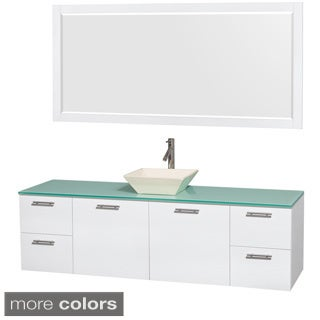 Wyndham Collection Amare 72 inch Single Vanity in Glossy White, Green Glass Countertop, 70 inch Mirror
