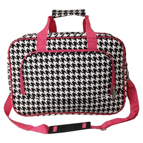 World Traveler Houndstooth 15-inch Lightweight Carry-On Shoulder Tote Duffle Bag