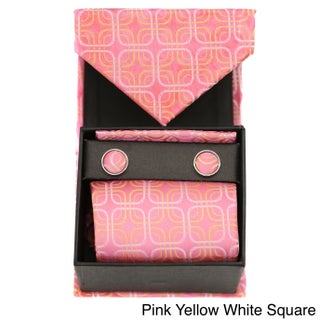 Ferrecci Vintage Squares 3pc Box Neck Tie Cuff Links and Hanky Set (3 options available)