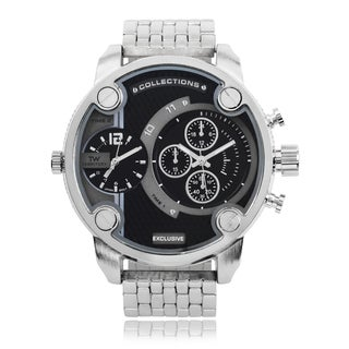 Territory Men's Round Face Quartz Dual Time Watch