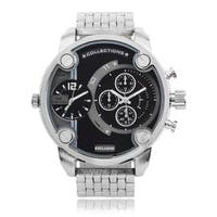 Territory Men's Large Round Dual Time Dial Link Bracelet Watch