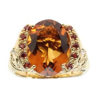 Dallas Prince Gold Over Silver Madiera Citrine and Orange Sapphire Ring