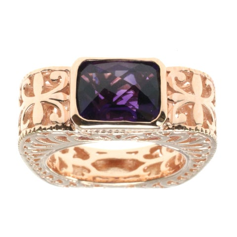Dallas Prince Rose Gold Over Silver Amethyst Filigree Ring