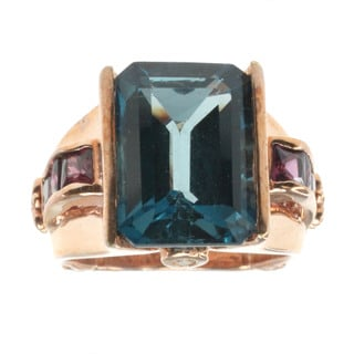 Dallas Prince London Blue Topaz and Rhodolite Ring
