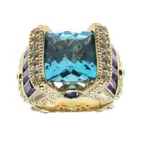 Dallas Prince Swiss White Sapphire Accented Blue Topaz and Amethyst Ring