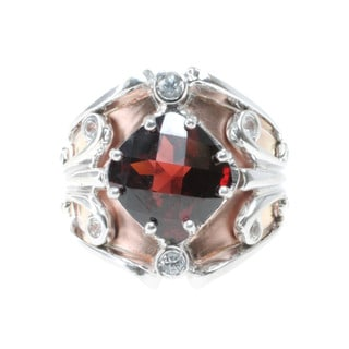 Dallas Prince Sterling Silver Rose Vermeil, Garnet and White Sapphire Ring