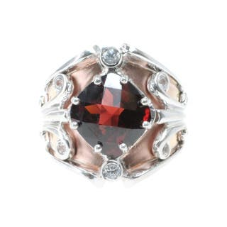 Dallas Prince Sterling Silver Rose Vermeil, Garnet and White Sapphire Ring|https://ak1.ostkcdn.com/images/products/9607378/P16793011.jpg?impolicy=medium
