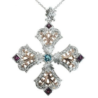 Dallas Prince Sterling Silver Cross Pendant With London Blue Topaz. Rhodolite and White Sapphire Necklace