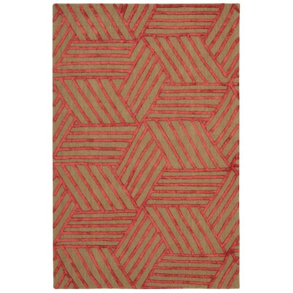 "Rug Squared Saratoga Latte Red Rug (5'x7'6) - 5' x 7'6"""
