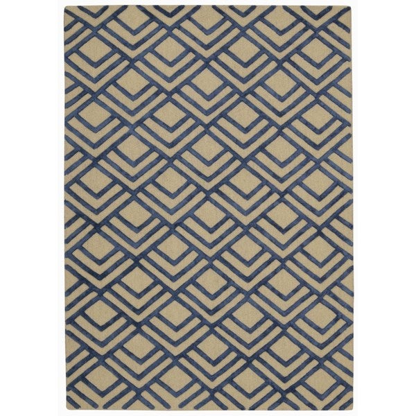 Rug Squared Saratoga Ivory/Navy Rug (4'x6') - 4' x 6'