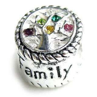 Queenberry Sterling Silver Family Tree of Life European Bead Charm