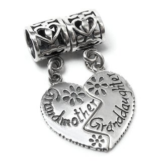 Queenberry Sterling Silver Granddaughter/ Grandmother Heart Dangle European Bead Charm