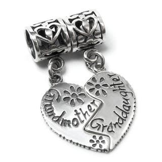 Queenberry Sterling Silver Granddaughter/ Grandmother Heart Dangle European Bead Charm|https://ak1.ostkcdn.com/images/products/9607536/P16793153.jpg?impolicy=medium
