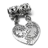 Sterling Silver Granddaughter/ Grandmother Heart Dangle European Bead Charm