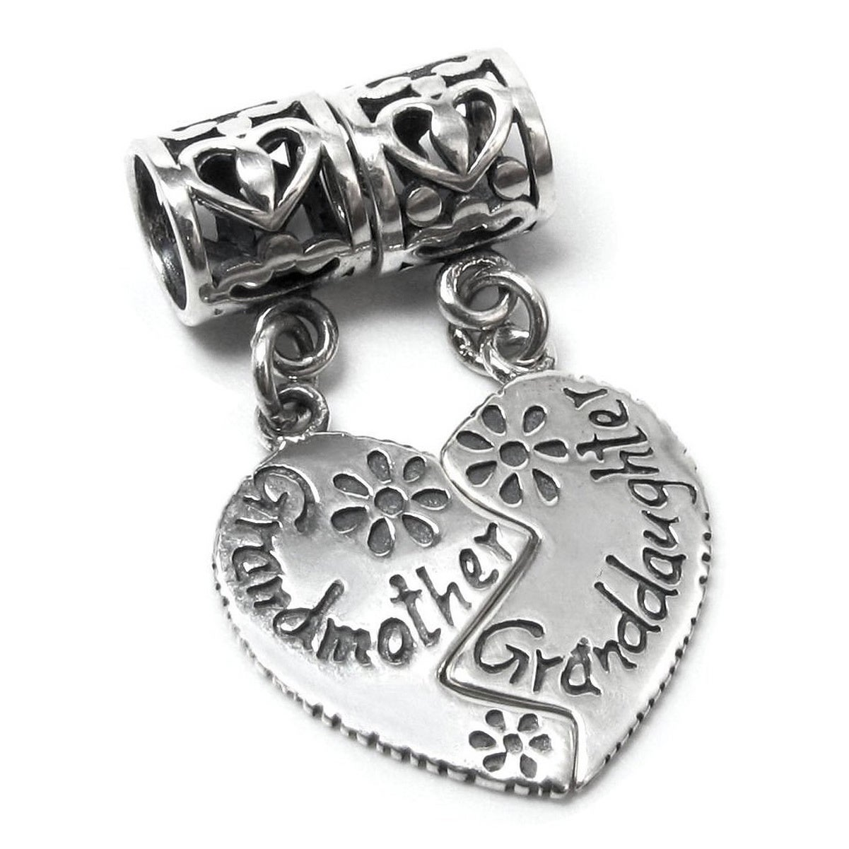 FILAGREE GRAND DAUGHTER GRANDDAUGHTER HEART CHARM 925 STERLING SILVER
