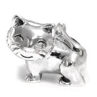 Queenberry Sterling Silver Smiley Kitty Cat European Bead Charm