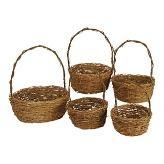 Wald Imports Unpeeled Willow Baskets (Set of 5)