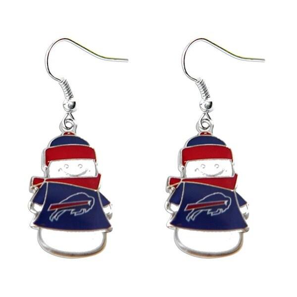 NFL Team Logo Snowman Holiday Dangle Earrings