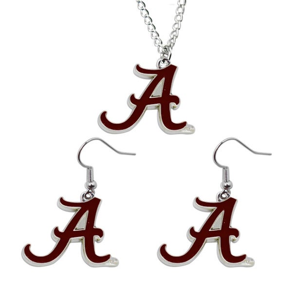Sports Team Logo Necklace and Dangle Earring Charm Gift Set