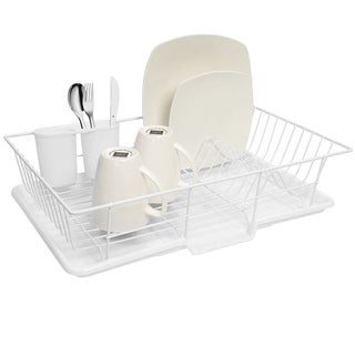 Sweet Home Collection Three-Piece White Dish Drainer Set
