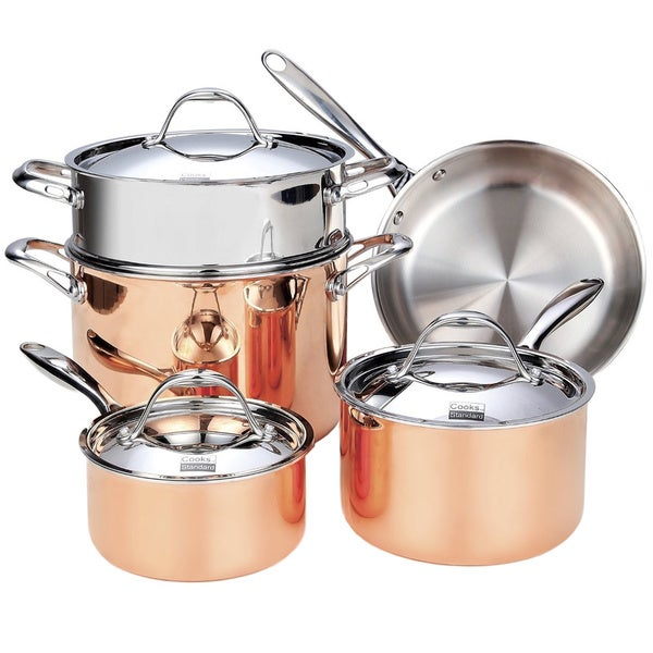 shop cooks standard 8 piece multi ply clad copper cookware set stainless steel on sale free. Black Bedroom Furniture Sets. Home Design Ideas