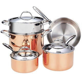 Cooks Standard NC-00389 8-Piece Multi-Ply Clad Copper Cookware Set