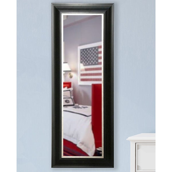 American Made Rayne Grand Black and Aged Silver 22 x 61-inch Slender Body Mirror - Black/Silver