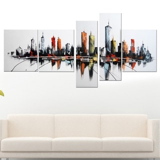 5-piece Colorful USA Cityscape Oil Painting on Canvas