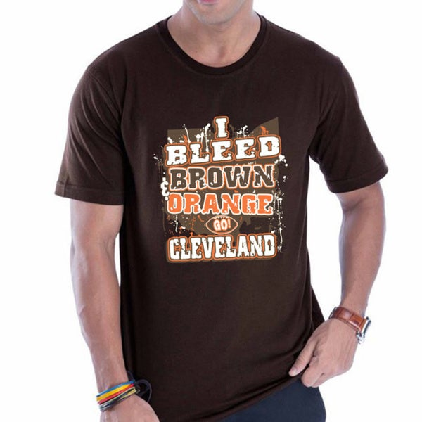 Cleveland Browns 'I Bleed Brown and Orange! Go Cleveland!' Brown T-shirt