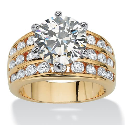 Gold Tone Cubic Zirconia Engagement Ring - White