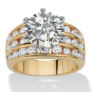 3.88 TCW Round Cubic Zirconia Ring in Yellow Gold Tone Glam CZ