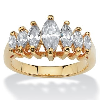 PalmBeach 1.50 TCW Marquise-Cut Cubic Zirconia 14k Yellow Gold-Plated Engagement Anniversary Ring Classic CZ