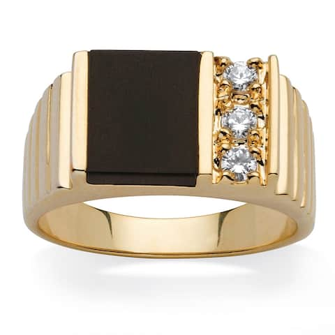 Men's .30 TCW Emerald-Shaped Genuine Onyx Cubic Zirconia Accent 14k Yellow Gold-Plated Cla