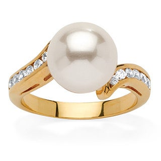 Yellow Goldplated Cubic Zirconia Accent Round Pearl Ring