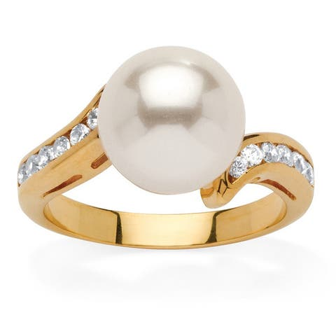 Yellow Gold-Plated Round Pearl and Round Ring Cubic Zirconia